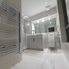 Carrara marble beautiful bathroom design fitters Glasgow katana bathrooms
